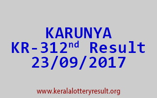 KARUNYA Lottery KR 312 Results 23-9-2017
