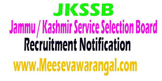 JKSSB (Jammu / Kashmir Service Selection Board) Recruitment 2016 Apply Online