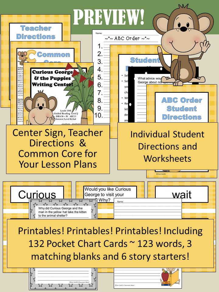 http://www.teacherspayteachers.com/Product/Curious-George-and-the-Puppies-Writing-Center-for-Common-Core-833674