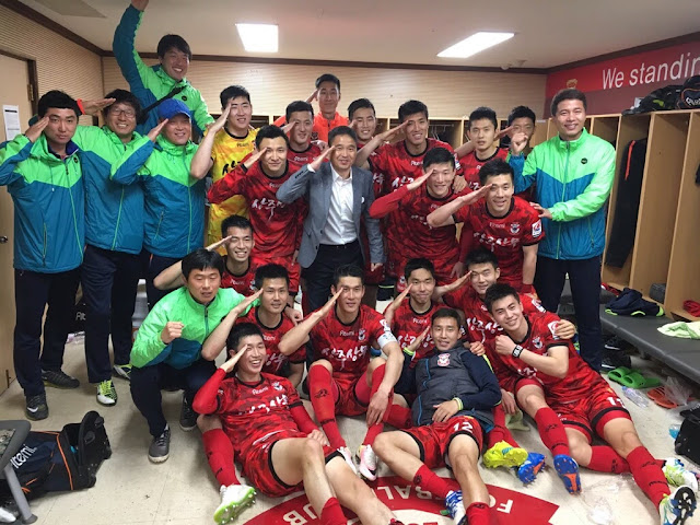 Sangju Sangmu FC celebrate their 2-0 win over Pohang Steelers last weekend  (Photo Credit: Sangju Sangmu FC Official Twitter Page)