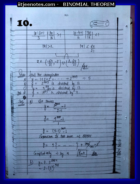 IITJEE Notes on Bimomial Theorem 10