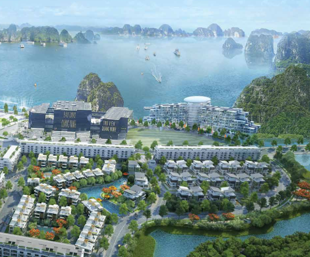 Khuôn viên hồ nước bao quanh dự án Mon Bay Hạ Long