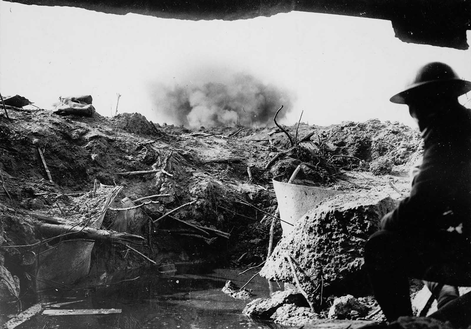 Looking out across a battlefield from an Anzac pill box near the Belgian city of Ypres in West Flanders in 1917. When German forces met stiff resistance in northern France in 1914, a