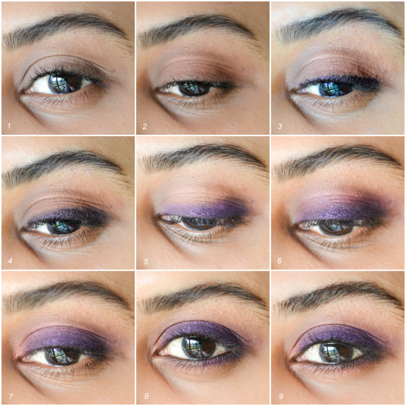 Easy Steps Tutorial How to Apply Purple Smokey Eyes Makeup Look for Brown Eyes