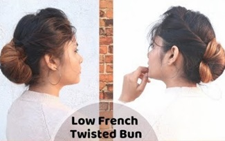 Low clean French Twisted Bun Hairstyle / Self Hairstyle /Hairstyle For Medium Hair