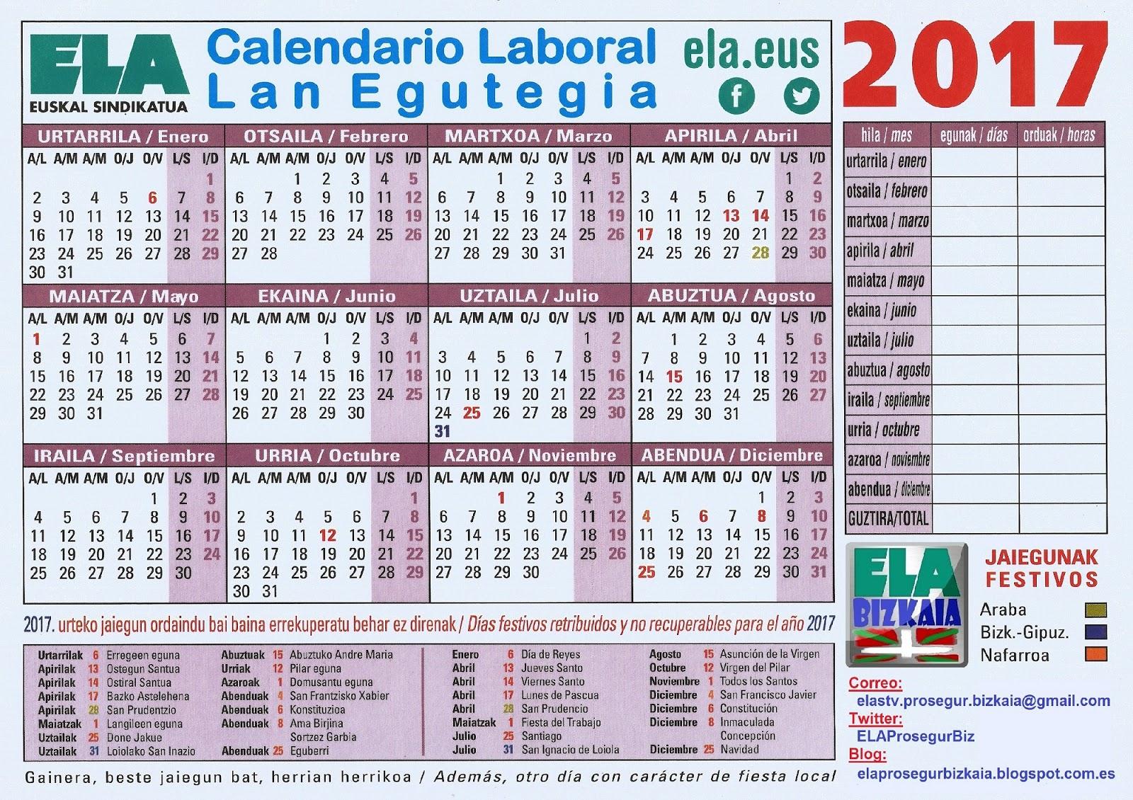 Calendario Laboral 2020 Bizkaia.Calendario Laboral Bizkaia