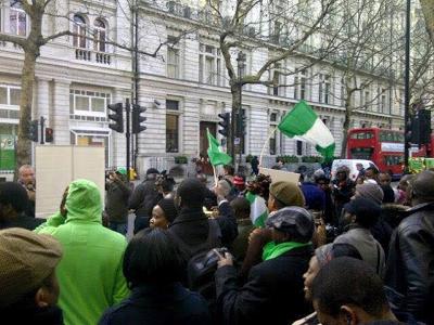 Nigerians storm Nigeria High Commission UK, demand to see President Buhari