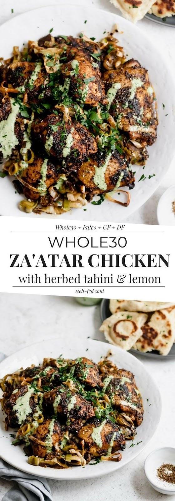 Weeknight Roasted Za'atar Chicken with Herbed Tahini & Leeks