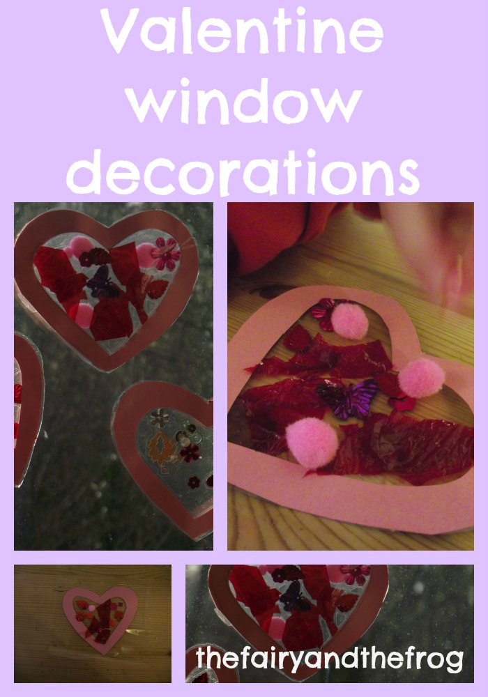 The fairy and the frog: Valentine heart window decoration