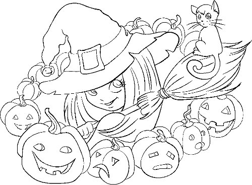 Coloring Fun Halloween Haunted House Pages 98: ImagesList.com: Halloween Images To Color 9