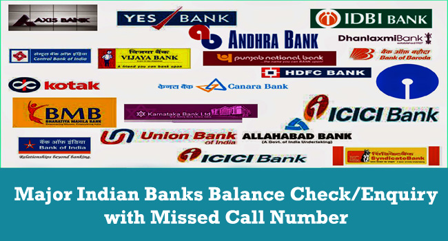 Major Indian Banks Balance Check/Enquiry with Missed Call Number