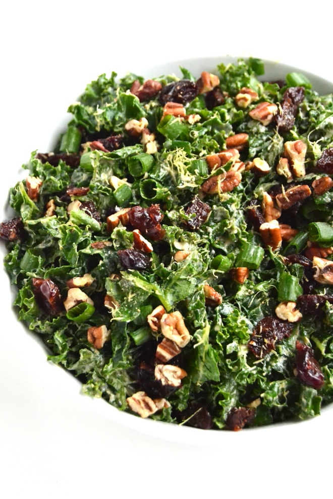 kale salad with lemon yogurt dressing