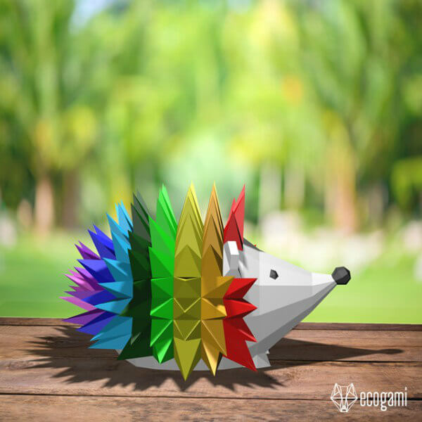 colorfully painted folded paper hedgehog model