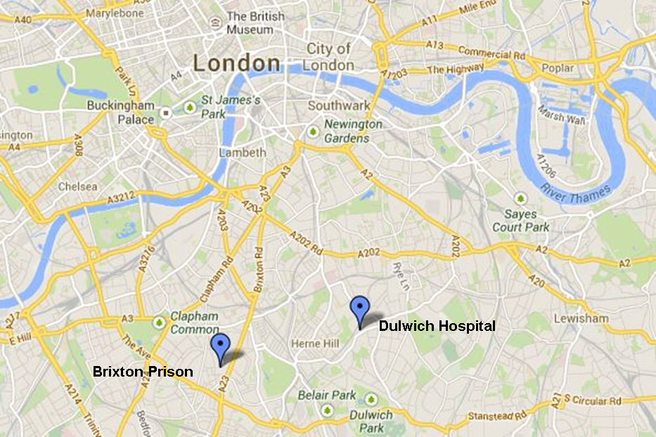Map showing location of Brixton Prison & Dulwich Hospital.