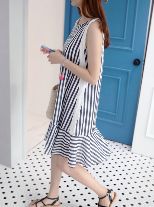 Striped Sleeveless Tent Dress