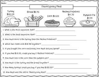 Free Thanksgiving Word Problem Worksheet