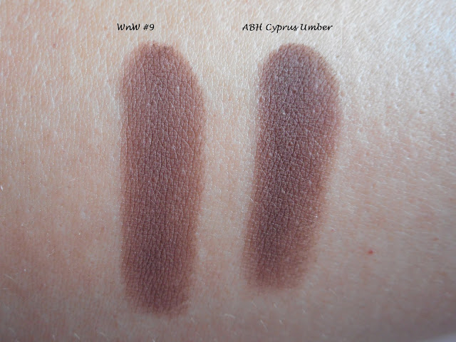 Wet n Wild Color Icon Rose in the Air #9 vs ABH Modern Renaissance Cyprus Umber