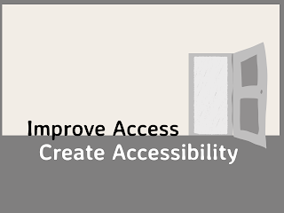 Room with door partially open with text stating Improve Access Create Accessibility