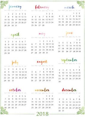 2018 year calendar.