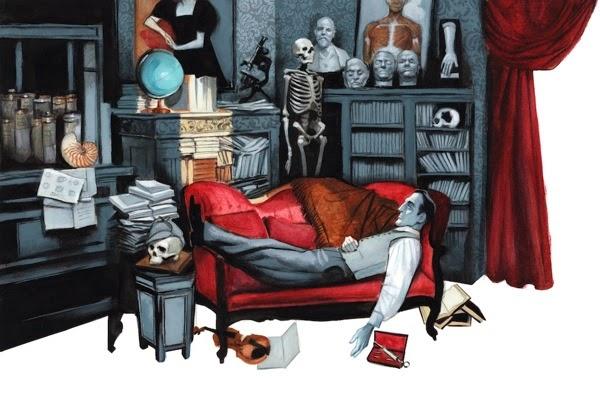 Detalle de una de las ilustraciones de Estudio en escarlata.