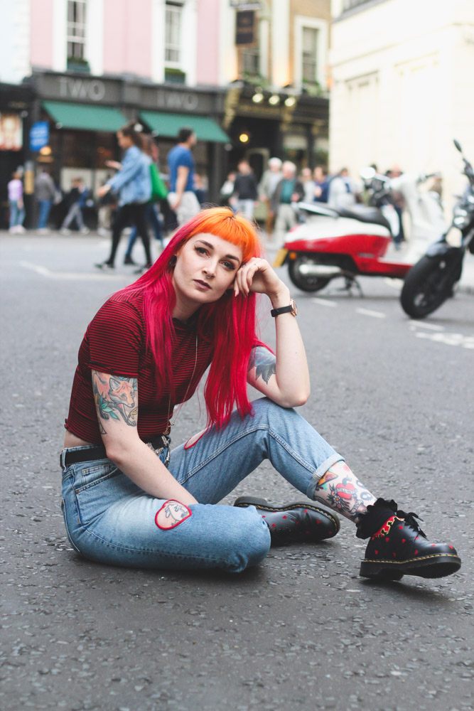 Alternative style blogger in Monki heart jeans