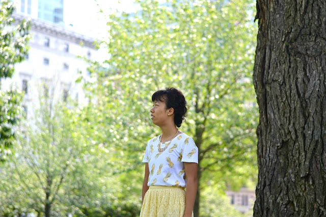 pineapple print shirt, yellow lace skirt