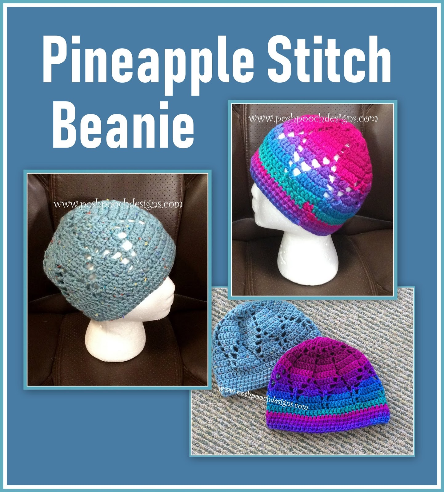 ab58f9abb31 Pineapple Stitch Beanie Crochet Pattern By Sara Sach of. Posh Pooch Designs