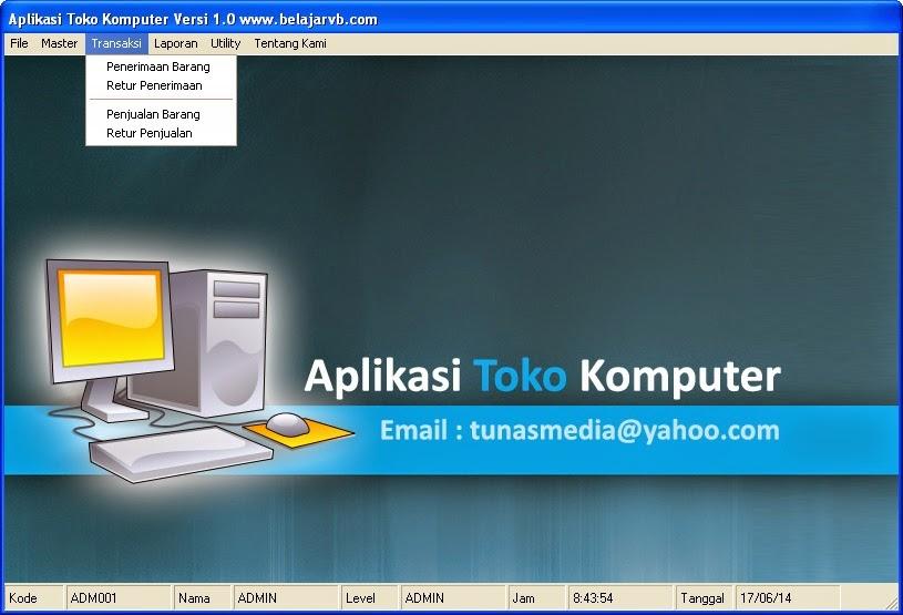 Aplikasi Program Aplikasi Toko Komputer VB 6.0 - Belajar VB