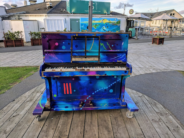 Colorful piano in Paihia Town in the Bay of Islands New Zealand
