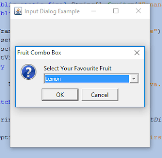 showInputDialog  with Combo Box