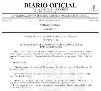 Ley dia radioaficionado chileno ca3bkn