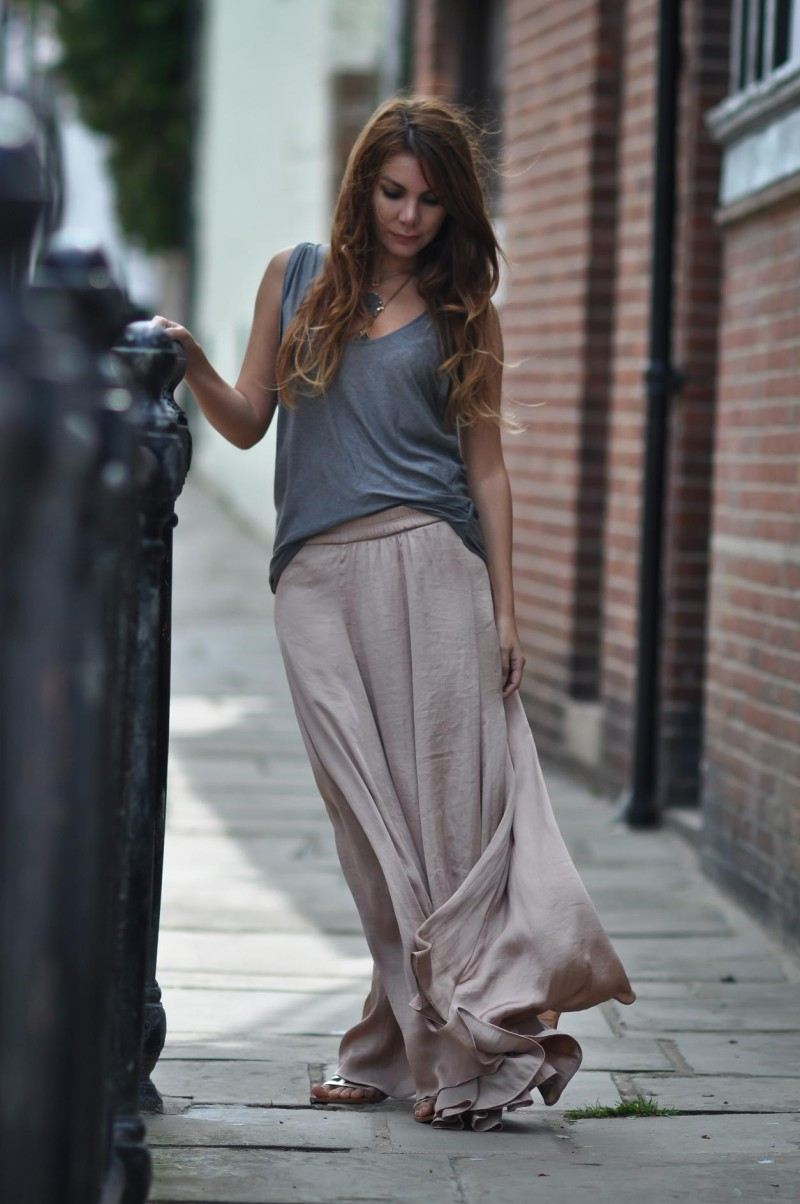 Zara New Collection Nude Long Flowy Maxi Skirt Size S M Ebay