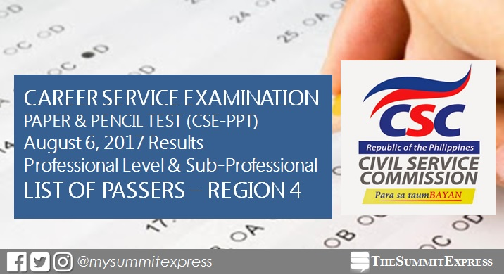 LIST OF PASSERS: Region 4 August 2017 Civil service exam results CSE-PPT