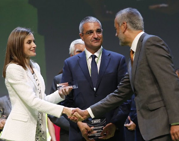 Queen Letizia wore Felipe Varela dress, Hugo Boss dress, Mango blouse, Adolfo Dominguez shoes, Tous Jewelry