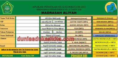 Aplikasi Raport/ Pengolahan Nilai Kurikulum 2013 Kelas 11 Madrasah Aliyah