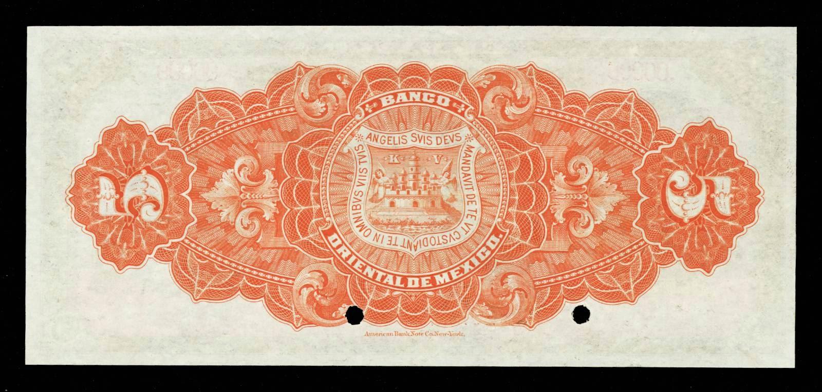 Mexico paper money  5 Pesos banknote Banco Oriental De Mexico