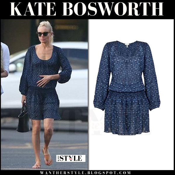 Kate Bosworth in blue Joie Bain mini dress with long sleeves what she wore celebrity streetstyle