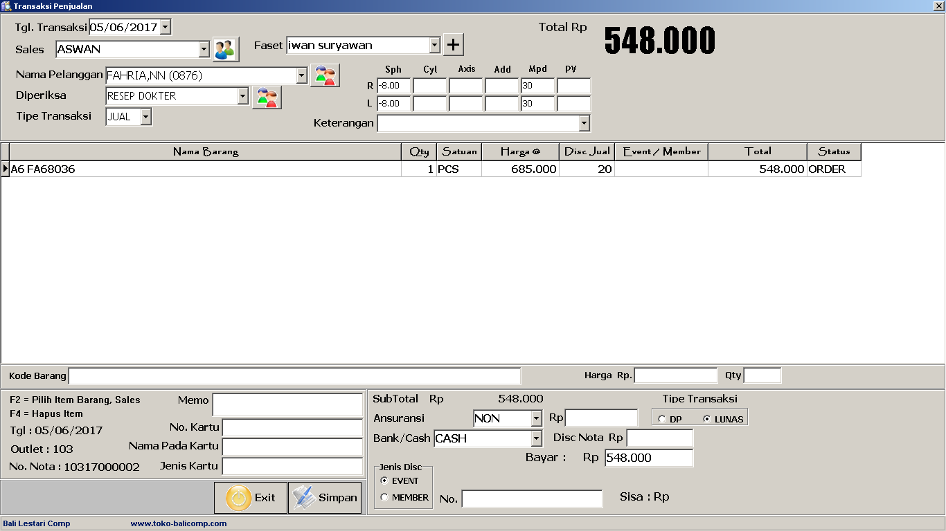 Toko Software Bali Software Penjualan Optik Pos Optic