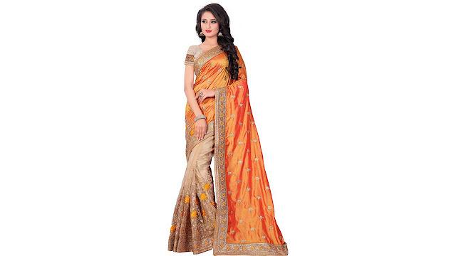 M.S.Retail Embroidered Bollywood Silk, Net Saree  (Orange)