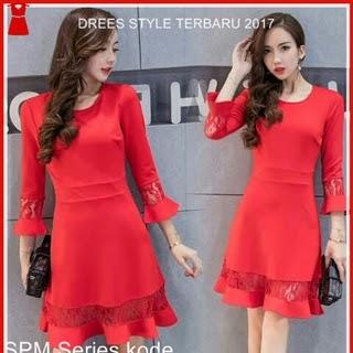 92SPM Baju Dress Korea Style Merah Hati Sakura Bj5012