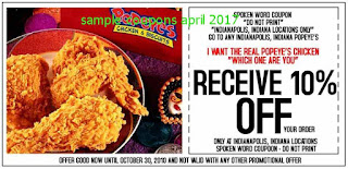 Popeyes Chicken coupons april 2017