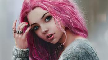 Beautiful, Girl, Pink Hair, Digital Art, 4K, #4.1983