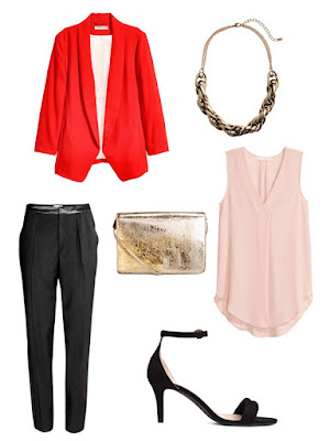 Chinese New Year Style Outfits H&M Shawl-Collar Jacket | Short Metal Necklace | Suit Trousers with Side Stripe | Shoulder Bag | Crêpe Blouse | Sandals