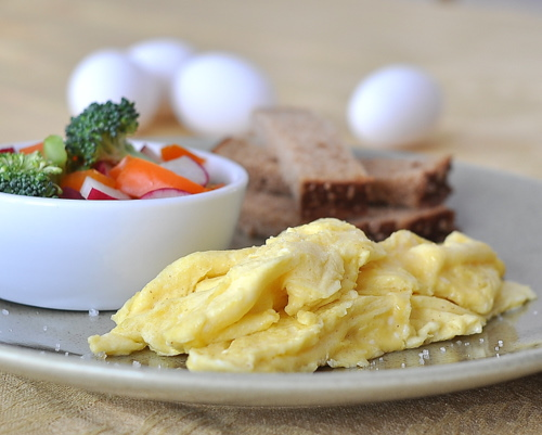 Simple French Eggs ♥ KitchenParade.com, how to cook eggs slowly in the French style, light, airy, delicious. Low Carb. High Protein. Weight Watchers Friendly.