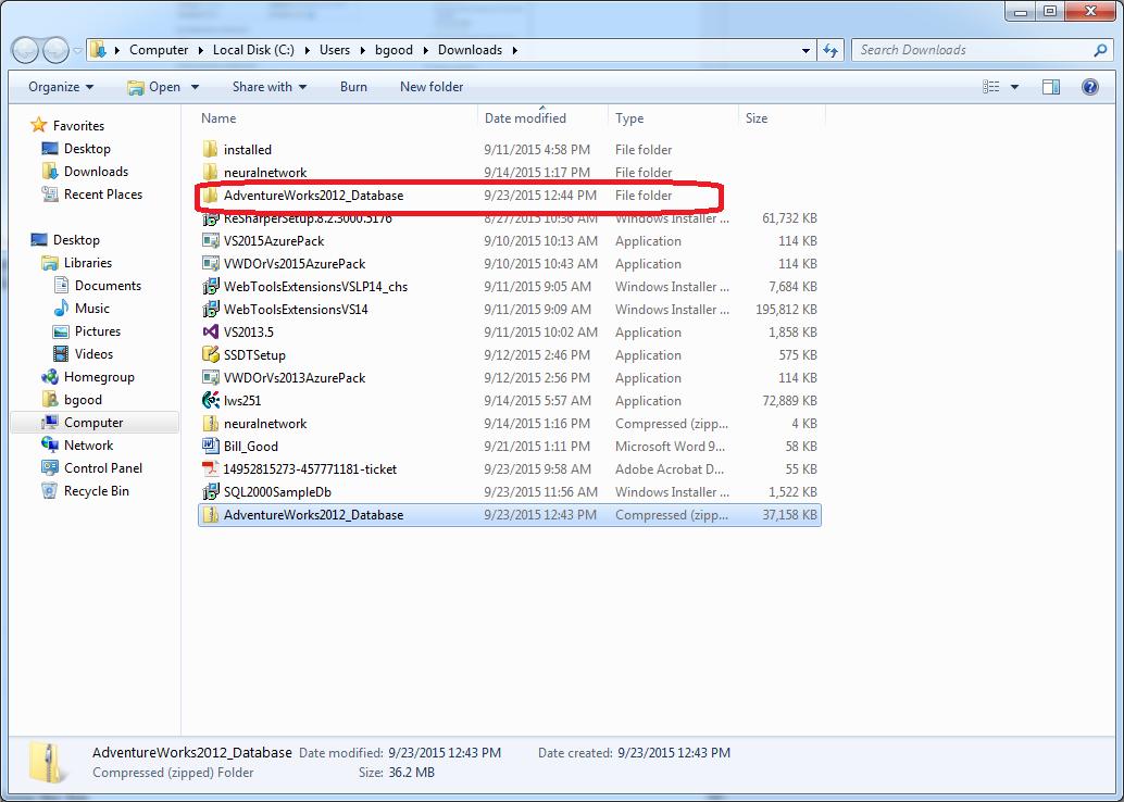 Installing the AdventureWorks Database with SQL Server 2012