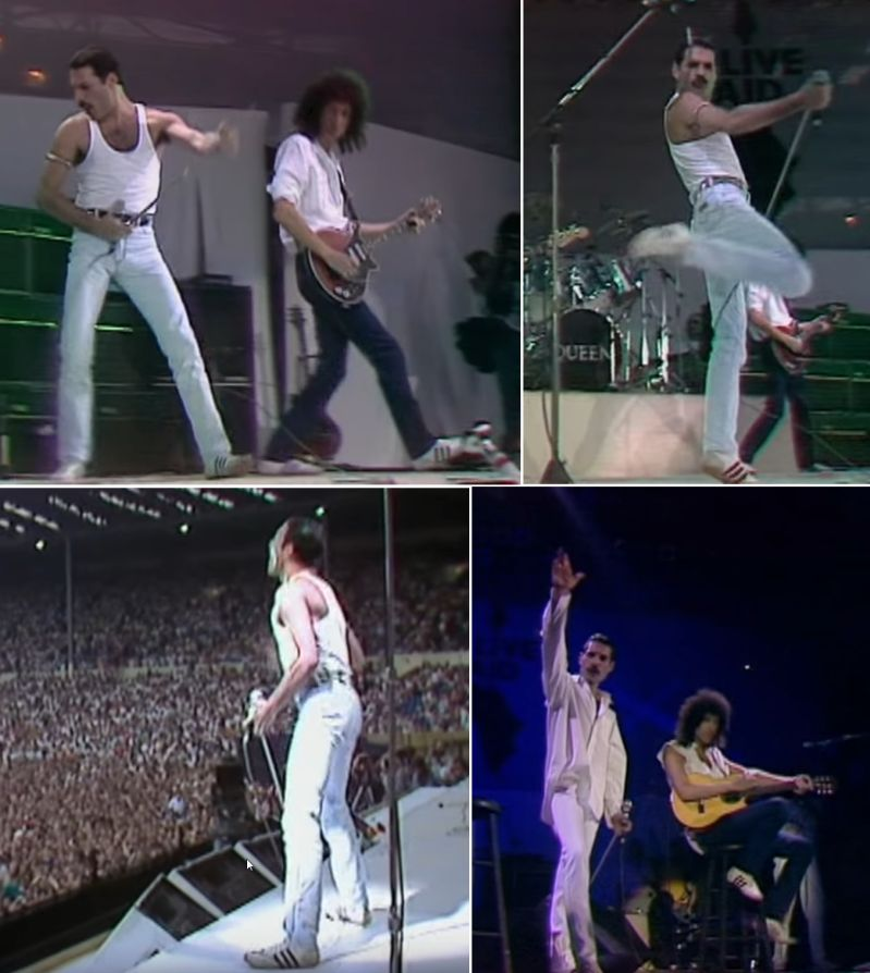 Freddie Mercury und Brian Mai in weißen Adidas mit schwarzen Streifen