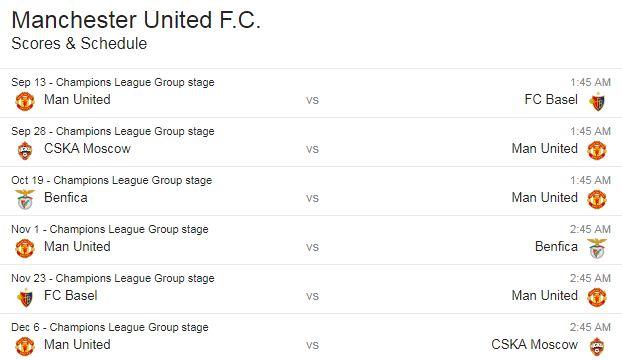 Jadwal Manchester United di Fase Grup Liga Champions 2017-2018