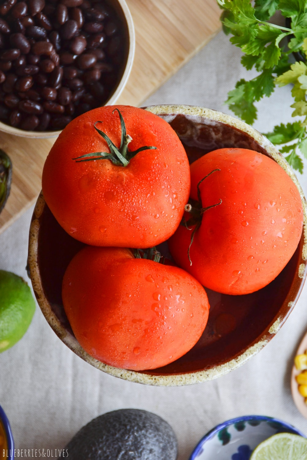 FRESH TOMATES WITH WATER DROPS FOR STUFFED TOMATOES RECIPE
