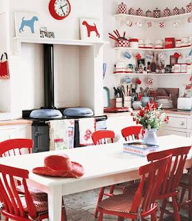 diseño de cocina rojo y blanco