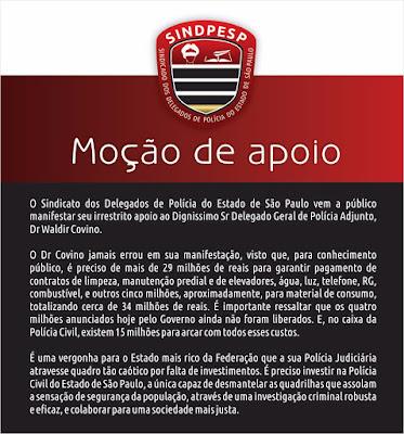 Sindicato dos Delegados de Polícia do Estado de São Paulo emite nota
